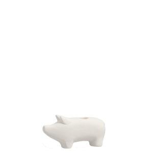 Kerzenhalter Schweinchen Hubert, weiß