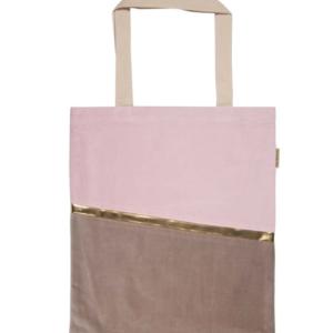 Einkaufstasche Samt rose/beige