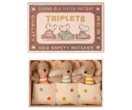 Triplets, baby mice in matchbox Maileg Tausendschoen Kindertraum