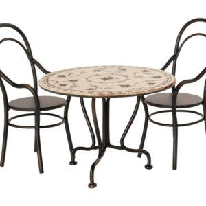 Maileg Esstisch mit 2 Stühlen, anthrazit