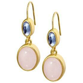 Basics earrings Rose Quartz worn gold | SENCE Copenhagen Dealer